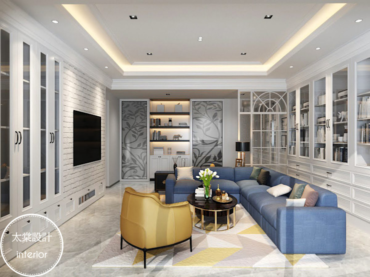 美式+純白 现代客厅設計點子、靈感 & 圖片 根據 太棠設計 現代風