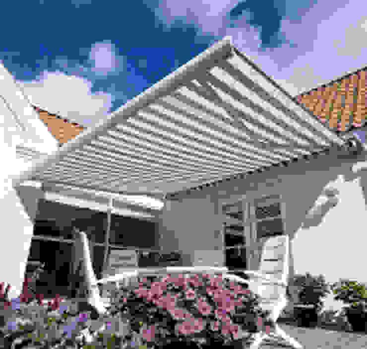Jasa Awning gulung Murah Berkualitas Lancar jaya kanopi Balconies, verandas & terraces Furniture Aluminium/Seng Grey