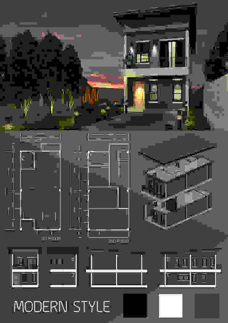 บ้านโมเดริน์ 2 ชั้น โดย บริษัท พี นัมเบอร์วัน ดีไซน์ แอนด์ คอนสตรัคชั่น จำกัด โมเดิร์น