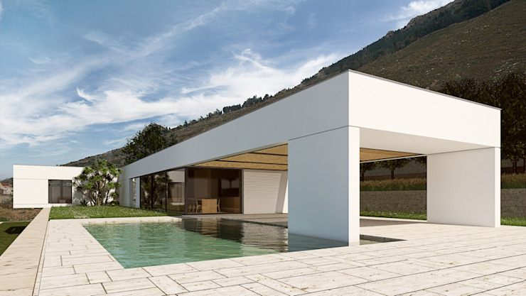 Contemporary House in Sicily ALESSIO LO BELLO ARCHITETTO a Palermo モダンスタイルの プール 石 白色