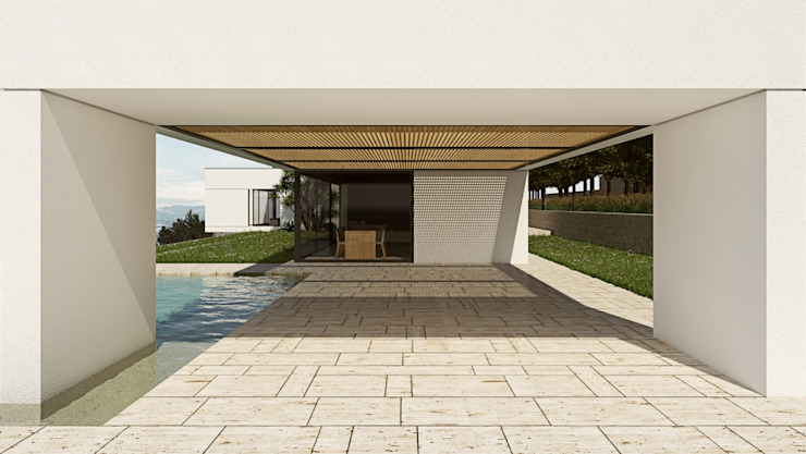Contemporary Sicilian Villa with pool ALESSIO LO BELLO ARCHITETTO a Palermo モダンデザインの テラス