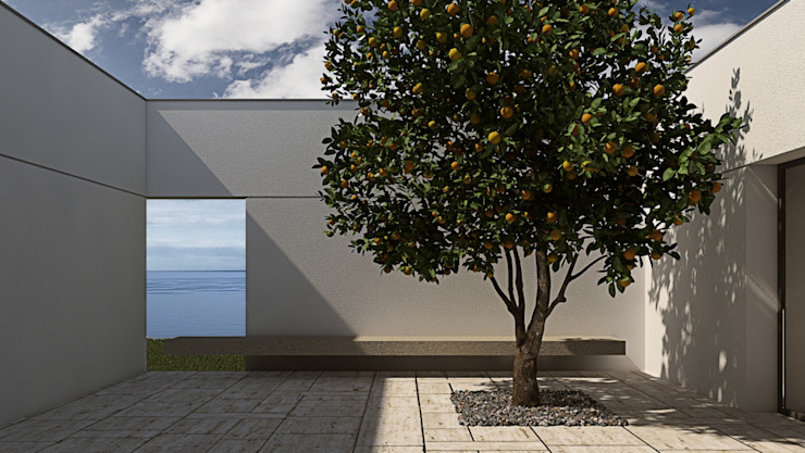 Patio with a window overlooking the sea, lemon tree ALESSIO LO BELLO ARCHITETTO a Palermo 地中海デザインの テラス 石 白色