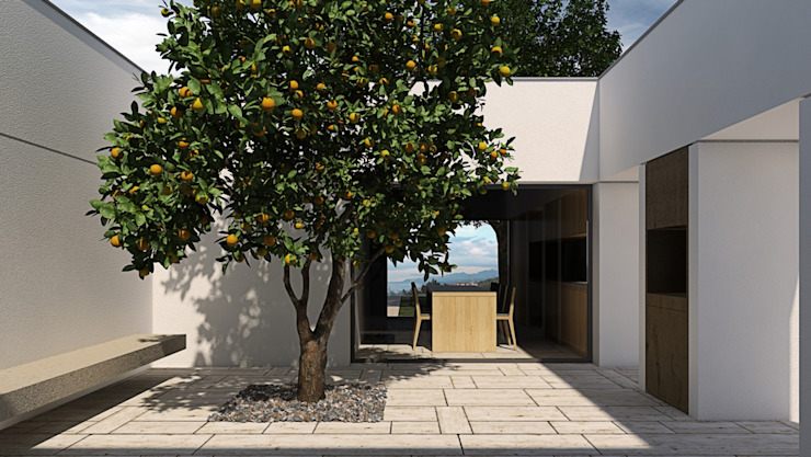 Patio with lemon tree ALESSIO LO BELLO ARCHITETTO a Palermo Balcones y terrazas mediterráneos