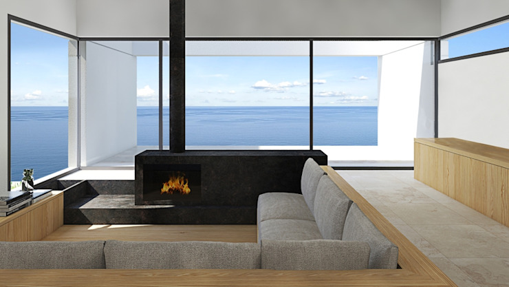 Glass window overlooking the sea ALESSIO LO BELLO ARCHITETTO a Palermo Modern living room