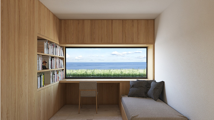 Room with a view with a window overlooking the sea ALESSIO LO BELLO ARCHITETTO a Palermo Dormitorios de estilo moderno