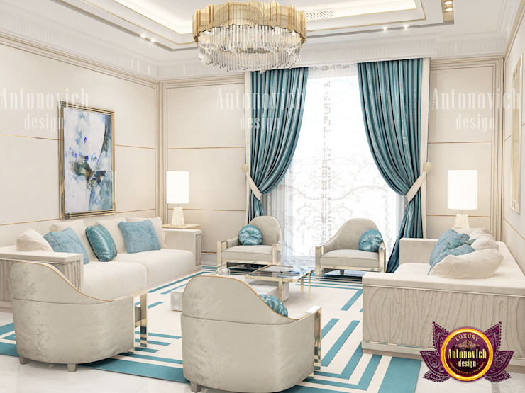 Blue Living Room With A Touch Of Glam by Luxury Antonovich Design