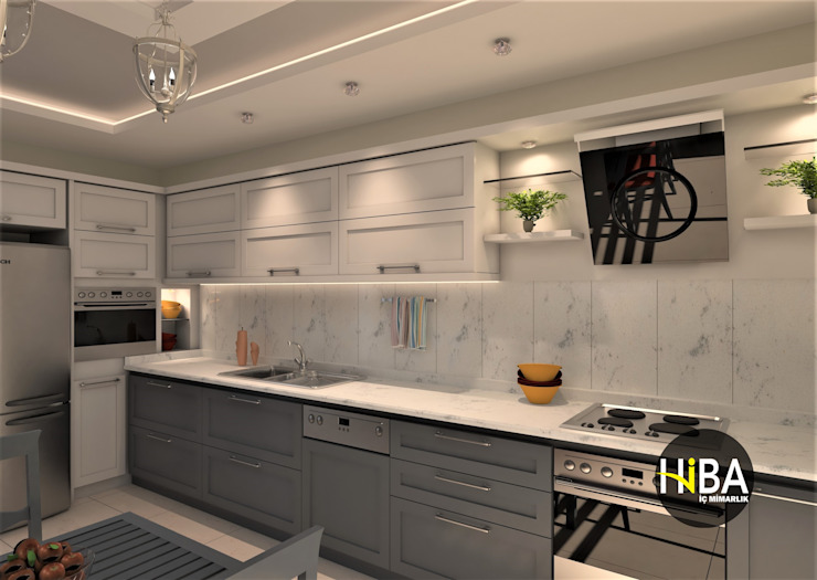 Hiba iç mimarik Modern kitchen Grey