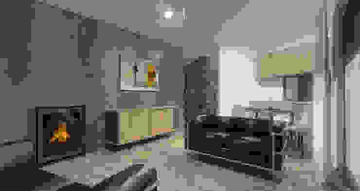 Sala de estar em open space com a sala de jantar e cozinha: Salas de estar  por Limit Studio