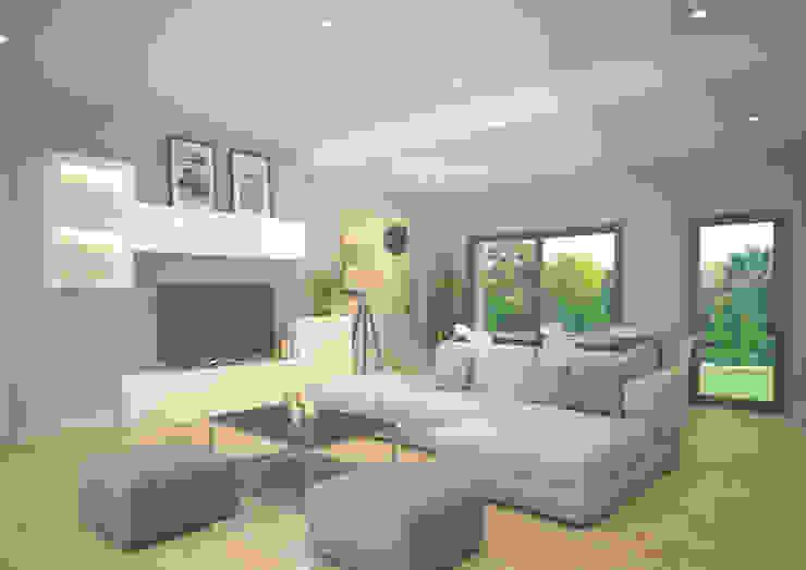 Trenta Casas Prefabricadas de Hormigón en Madrid Modern living room Concrete Beige