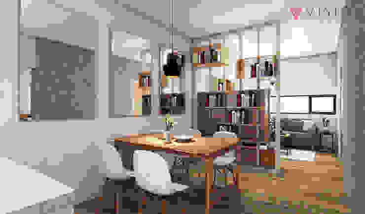 Tomang Residence Ruang Makan Gaya Skandinavia Oleh PT VISIO GEMILANG ABADI Skandinavia Kayu Lapis