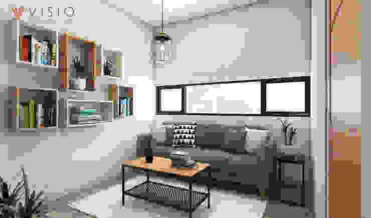 Tomang Residence Ruang Keluarga Gaya Skandinavia Oleh PT VISIO GEMILANG ABADI Skandinavia Kayu Lapis