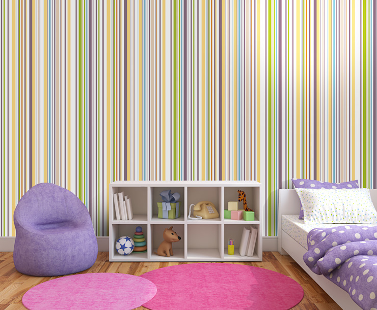 Papel tapiz personalizado en recámara niñas.: Recámaras para niñas de estilo  por Kromart Wallcoverings - Papel Tapiz Personalizado , Moderno