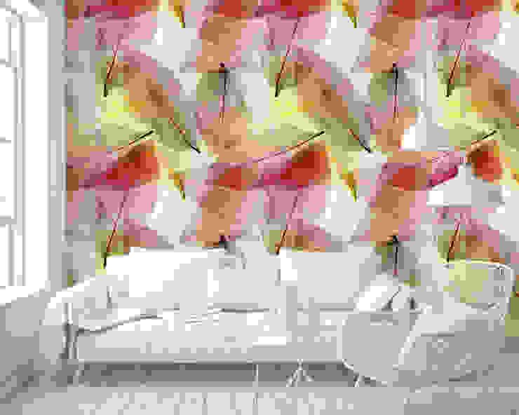 Papel tapiz personalizado en sala. Salas modernas de Kromart Wallcoverings - Papel Tapiz Personalizado Moderno