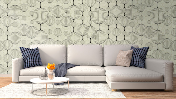 Papel tapiz personalizado en sala. Salas de estilo clásico de Kromart Wallcoverings - Papel Tapiz Personalizado Clásico