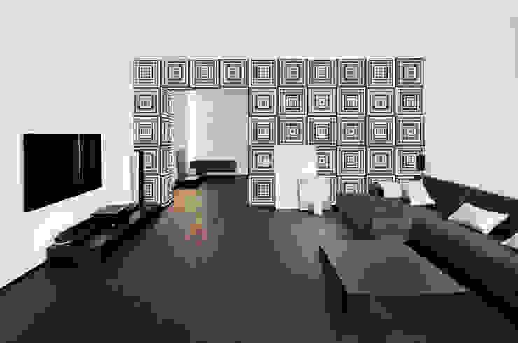 Papel tapiz personalizado en sala. Salas de estilo minimalista de Kromart Wallcoverings - Papel Tapiz Personalizado Minimalista