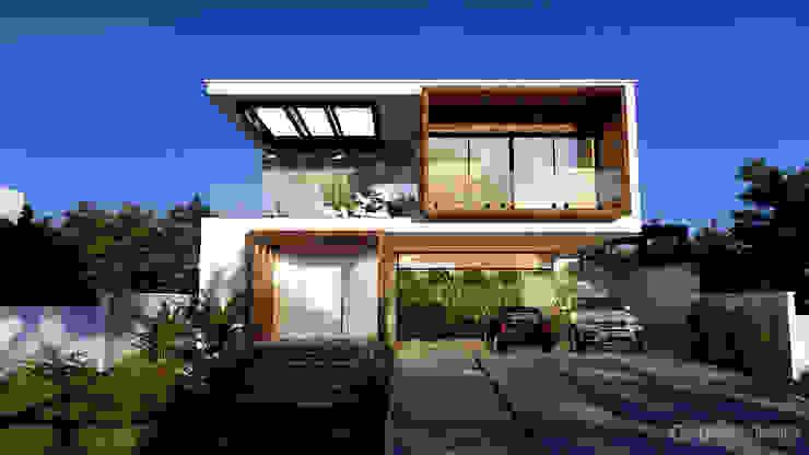 Fachada Casa moderna Gelker Ribeiro Arquitetura | Arquiteto Rio de Janeiro Condomínios Madeira Branco