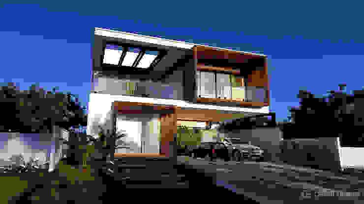 Fachada Casa Vontemporânea Moderna Gelker Ribeiro Arquitetura | Arquiteto Rio de Janeiro Condomínios Madeira Branco