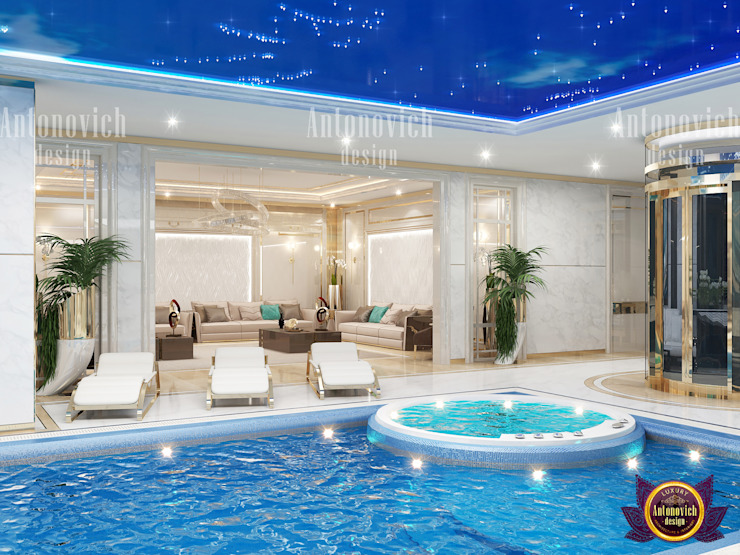 Neoclassical Pool Design by Luxury Antonovich Design