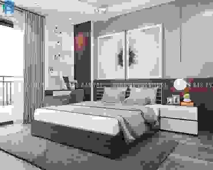 Thiết kế nội thất căn hộ chung HaDo Centrosa Garden 86m2 có 2 phòng ngủ - Cô Hồng, Quận 10, TP.HCM Phòng ngủ phong cách hiện đại bởi Công ty TNHH Nội Thất Mạnh Hệ Hiện đại Than củi Multicolored