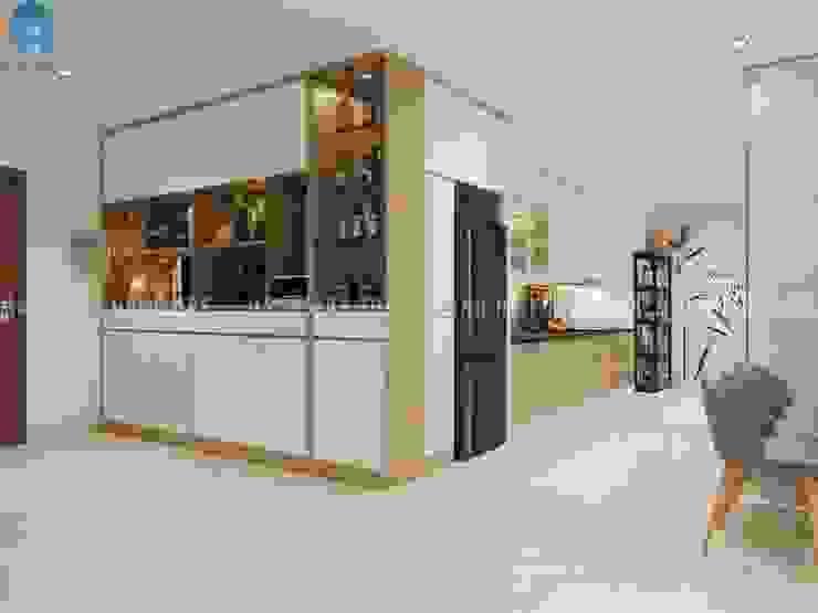 Thiết kế nội thất căn hộ chung HaDo Centrosa Garden 86m2 có 2 phòng ngủ – Cô Hồng, Quận 10, TP.HCM bởi Công ty TNHH Nội Thất Mạnh Hệ Hiện đại Đồng / Đồng / Đồng thau