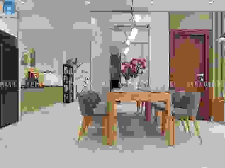 Thiết kế nội thất căn hộ chung HaDo Centrosa Garden 86m2 có 2 phòng ngủ – Cô Hồng, Quận 10, TP.HCM Phòng ăn phong cách hiện đại bởi Công ty TNHH Nội Thất Mạnh Hệ Hiện đại Nhựa