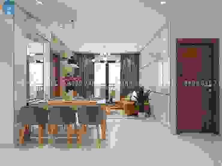 Thiết kế nội thất căn hộ chung HaDo Centrosa Garden 86m2 có 2 phòng ngủ – Cô Hồng, Quận 10, TP.HCM bởi Công ty TNHH Nội Thất Mạnh Hệ Hiện đại Đá hoa