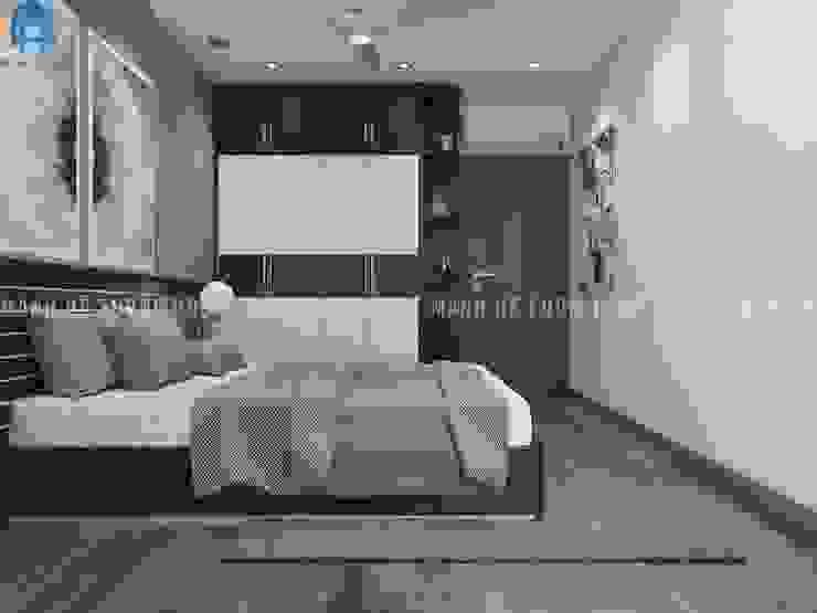 Thiết kế nội thất căn hộ chung HaDo Centrosa Garden 86m2 có 2 phòng ngủ – Cô Hồng, Quận 10, TP.HCM Phòng ngủ phong cách hiện đại bởi Công ty TNHH Nội Thất Mạnh Hệ Hiện đại Bê tông cốt thép
