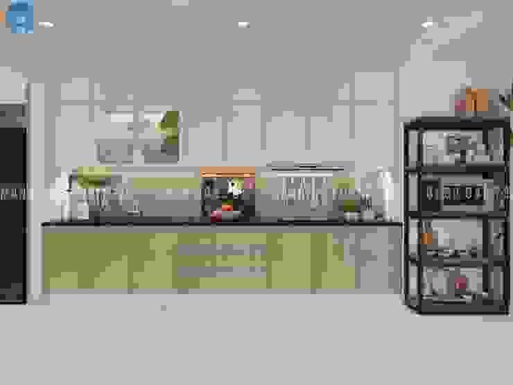 Thiết kế nội thất căn hộ chung HaDo Centrosa Garden 86m2 có 2 phòng ngủ – Cô Hồng, Quận 10, TP.HCM Nhà bếp phong cách hiện đại bởi Công ty TNHH Nội Thất Mạnh Hệ Hiện đại Nhựa