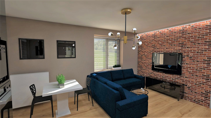Katarzyna Wnęk Modern living room Bricks Grey