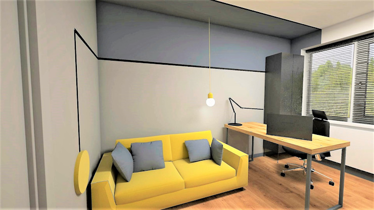 Katarzyna Wnęk Modern study/office Solid Wood Yellow
