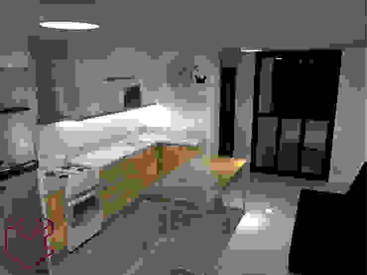 3D Cocina:  de estilo industrial por Cubicointerior, Industrial Aglomerado