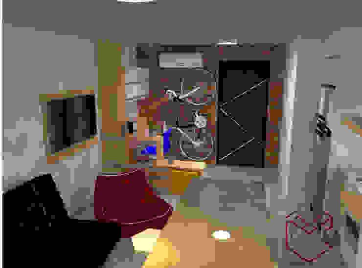 Vista de living estudio:  de estilo industrial por Cubicointerior, Industrial