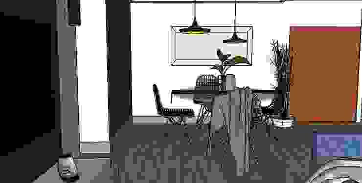 Comedor de Cubicointerior Moderno Textil Ámbar/Dorado
