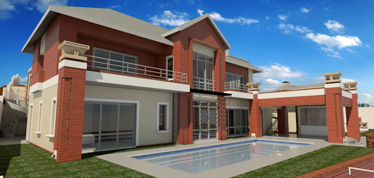 render of swimming pool area Modern houses by Nuclei Lifestyle Design Modern