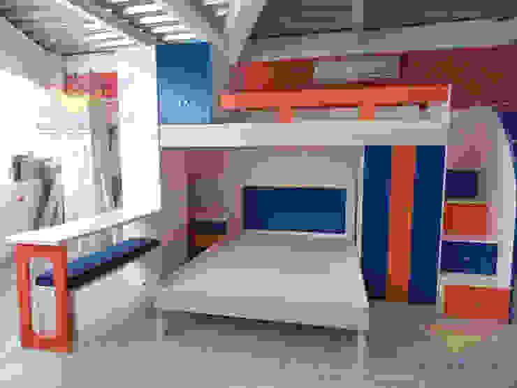 Practica litera juvenil con escritorio y closets de camas y literas infantiles kids world Moderno Derivados de madera Transparente