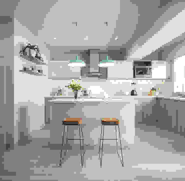 現代廚房設計點子、靈感&圖片 根據 TR3STUDIO 現代風 石英