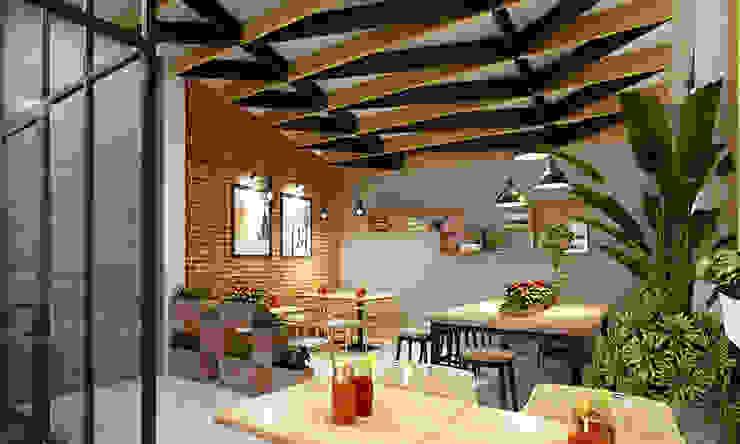 quán cafe: hiện đại  by công ty thiết kế nhà hàng & quán cafe Hiện đại CEEB, Hiện đại