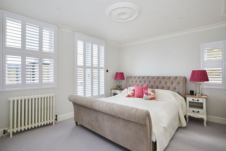 A Stunning Scandi Style Home in Fulham Plantation Shutters Ltd Kamar tidur kecil MDF White