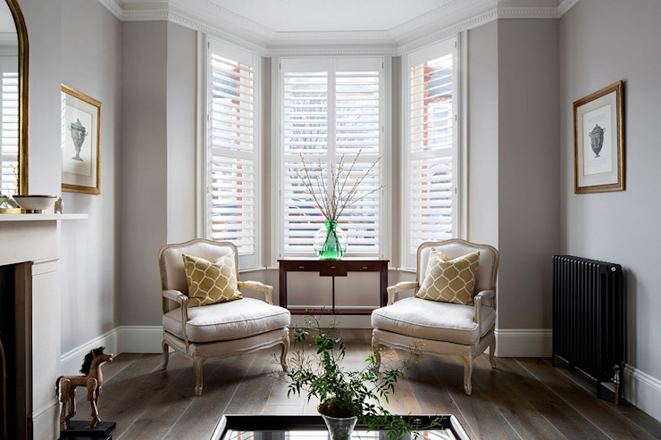 A Classic Contemporary Home in Clapham South Plantation Shutters Ltd Modern living room Solid Wood White