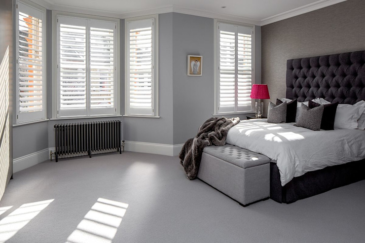 A Classic Contemporary Home in Clapham South Plantation Shutters Ltd Small bedroom Solid Wood White