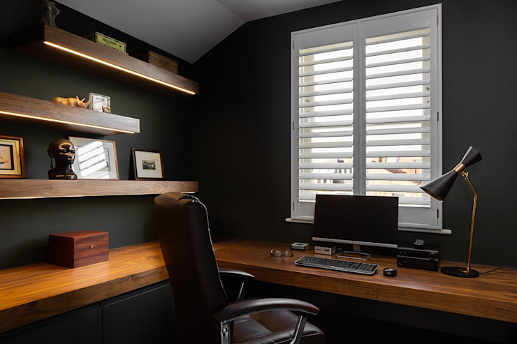 A Classic Contemporary Home in Clapham South Plantation Shutters Ltd Ruang Studi/Kantor Modern Parket White
