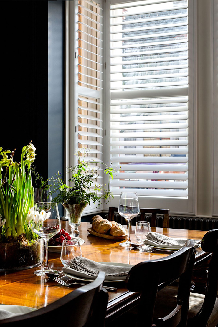 A Classic Contemporary Home in Clapham South Plantation Shutters Ltd Modern dining room Solid Wood White