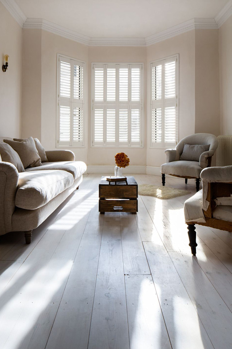 Minimal on Content But Huge on Style Plantation Shutters Ltd Scandinavian style living room MDF White
