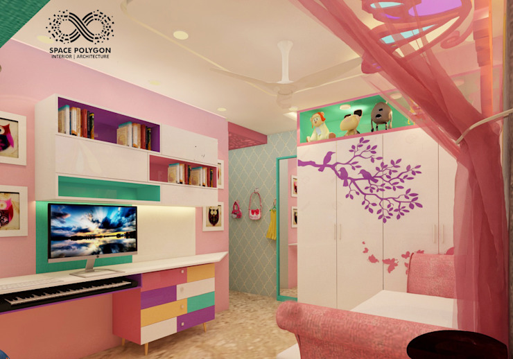 Daughter's bedroom: eclectic  by Space Polygon,Eclectic