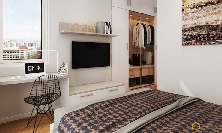 nội thất căn hộ hiện đại CEEB モダンスタイルの寝室