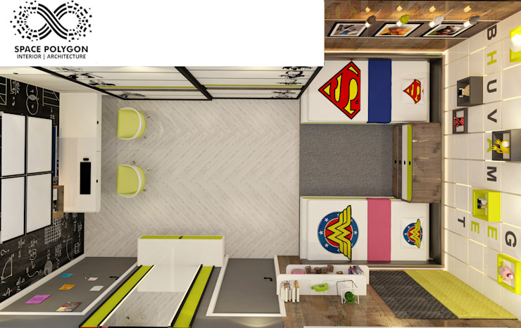 Kids Bedroom:  Small bedroom by Space Polygon,