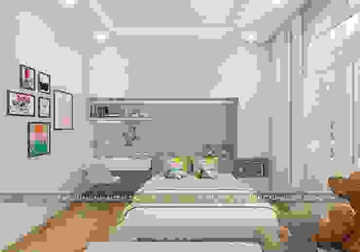 Mẫu nhà đẹp 3 tầng 5x12m đơn giản mà đẹp phù hợp với mọi gia đình Phòng ngủ phong cách hiện đại bởi Công ty cổ phần tư vấn kiến trúc xây dựng Nam Long Hiện đại