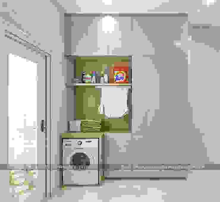 Mẫu nhà đẹp 3 tầng 5x12m đơn giản mà đẹp phù hợp với mọi gia đình Phòng thay đồ phong cách hiện đại bởi Công ty cổ phần tư vấn kiến trúc xây dựng Nam Long Hiện đại