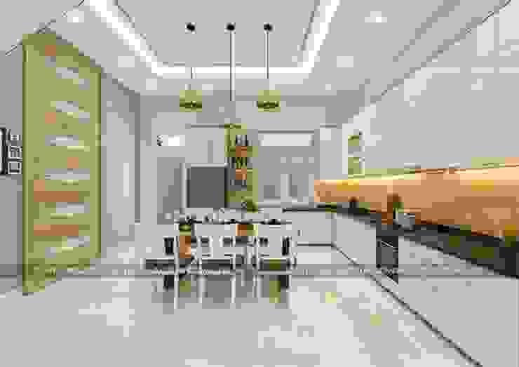 Mẫu nhà đẹp 3 tầng 5x12m đơn giản mà đẹp phù hợp với mọi gia đình Nhà bếp phong cách hiện đại bởi Công ty cổ phần tư vấn kiến trúc xây dựng Nam Long Hiện đại