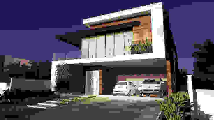 Projeto casa Moderna DC - Vista da lateral por Gelker Ribeiro Arquitetura | Arquiteto Rio de Janeiro Moderno Derivados de madeira Transparente